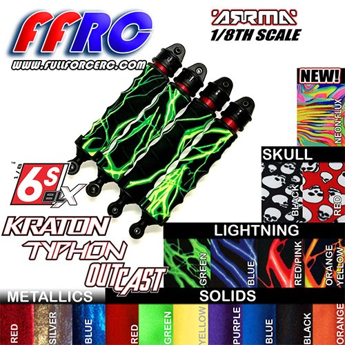 하비몬[#ARM618NFX] [4개 한대분] ARRMA 8th Kraton/Notorious/Outcast/Talion/Typhon 6S Shock Boots - Neon Flux[상품코드]FULL FORCE RC