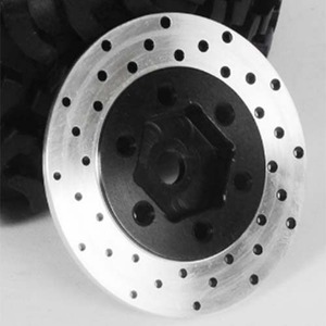 "하비몬[4개 한대분] 1.9""/2.2"" 6 Lug Steel Wheel Hex Hub with Brake Rotor[상품코드]RC4WD"