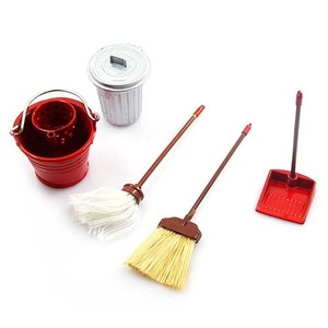 하비몬1/10 RC Crawler Garage Accessory Combo w/ Broom, Dustpan, Mop, Water Bucket, Metal Trash Bin[상품코드]YEAH RACING