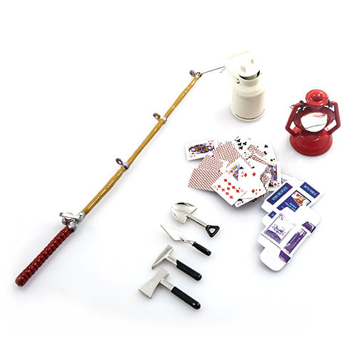 하비몬1/10 RC Crawler Camping Accessory Combo w/ Oil Lamp, Fishing Rod, Poker Card, Milk Can, Tools Set[상품코드]YEAH RACING